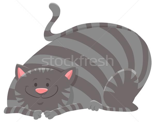 happy tabby cat cartoon animal character Stock photo © izakowski