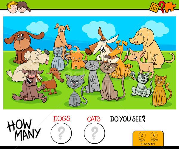 Gatti cani educativo gioco cartoon illustrazione Foto d'archivio © izakowski