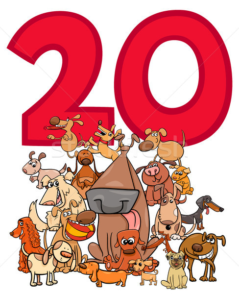 Número veinte Cartoon perros grupo ilustración Foto stock © izakowski