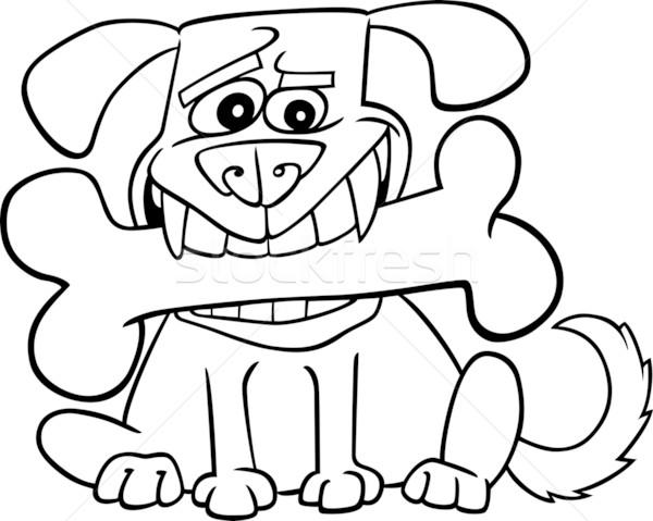 Karikatür Köpek Büyük Kemik örnek Boyama Kitabı Vektör