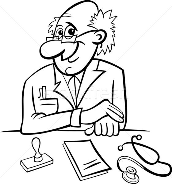 doctor in clinic black and white cartoon Stock photo © izakowski
