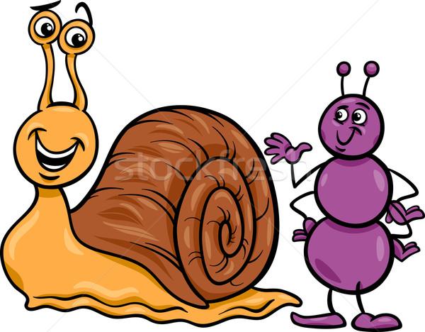 муравей улитки Cartoon иллюстрация насекомое Сток-фото © izakowski