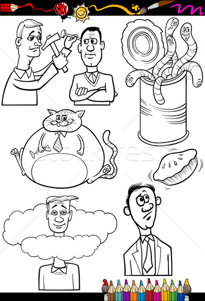 Cartoon gezegden ingesteld kleurboek pagina illustratie Stockfoto © izakowski