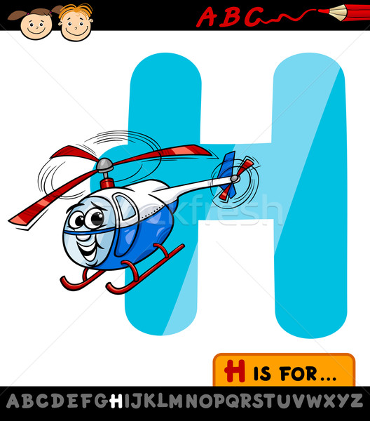 Helikopter hoed cartoon illustratie hoofdletter Stockfoto © izakowski