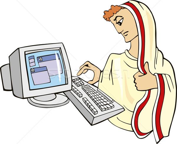 Oude specialist humoristisch illustratie computer man Stockfoto © izakowski