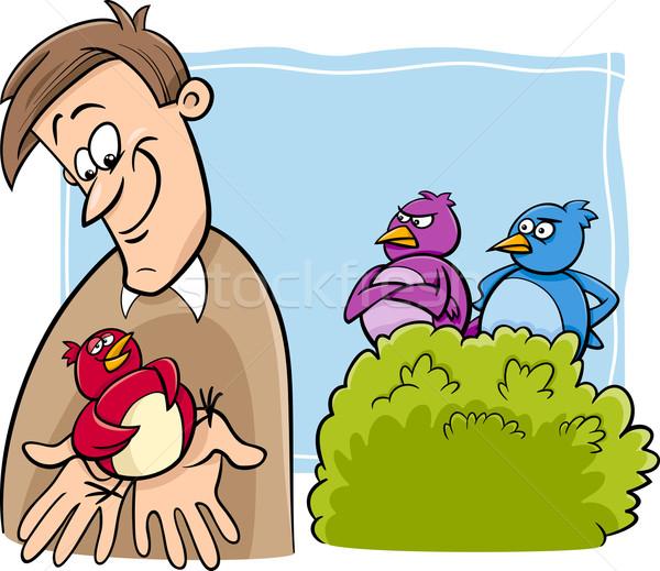 Oiseau main cartoon humour illustration valeur Photo stock © izakowski