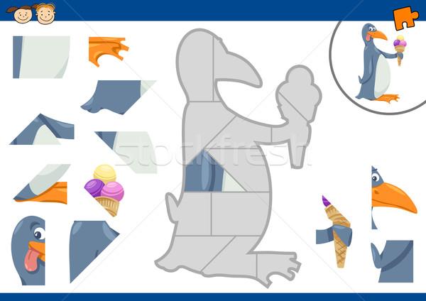 cartoon penguin jigsaw puzzle task Stock photo © izakowski