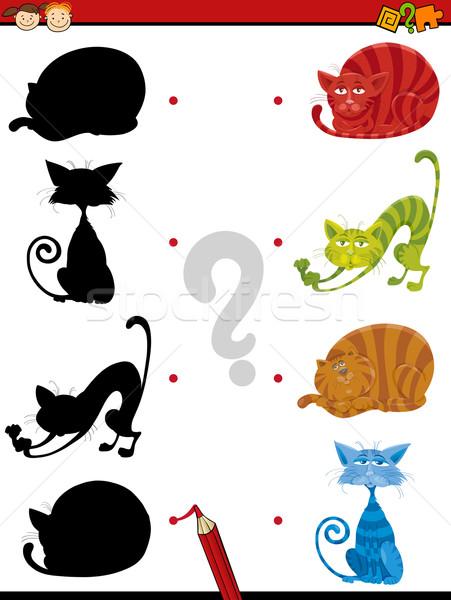 Schaduw taak katten kinderen cartoon illustratie Stockfoto © izakowski