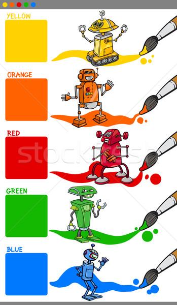 Primaria colori cartoon robot illustrazione robot Foto d'archivio © izakowski