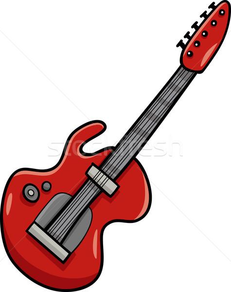 Chitarra elettrica cartoon clipart illustrazione strumento musicale musica Foto d'archivio © izakowski