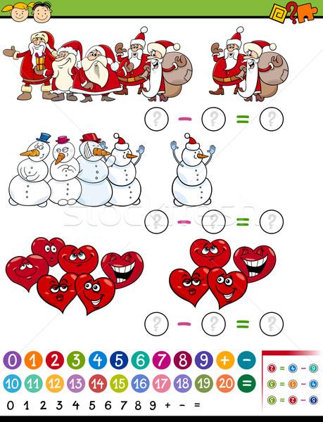 Matematyki gry cartoon ilustracja edukacji matematyczny Zdjęcia stock © izakowski
