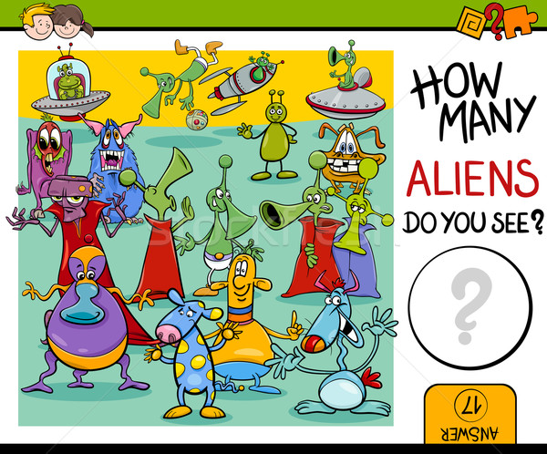 counting aliens task for kids Stock photo © izakowski