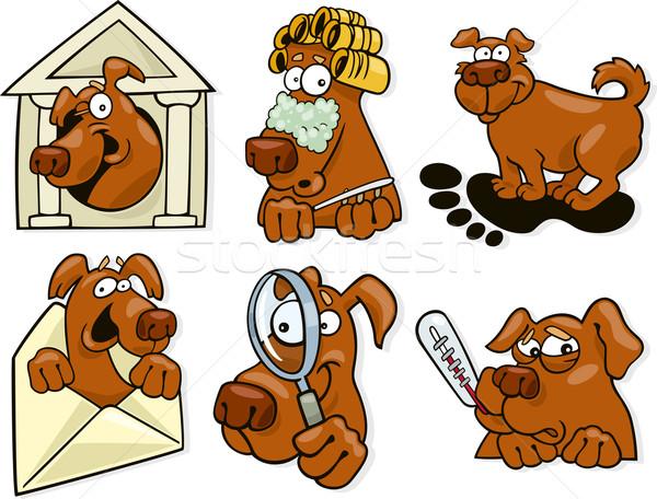 dog icons set Stock photo © izakowski