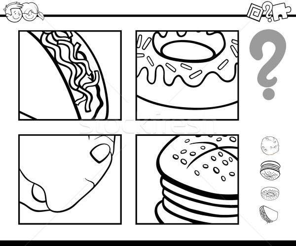 Odgadnąć żywności obiektów kolorowanka czarno białe cartoon Zdjęcia stock © izakowski