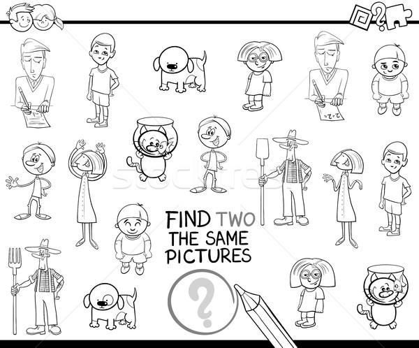 Bulmak aynı resimleri siyah beyaz karikatür örnek Stok fotoğraf © izakowski