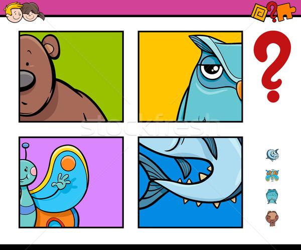Odgadnąć zwierząt działalność gry cartoon ilustracja Zdjęcia stock © izakowski