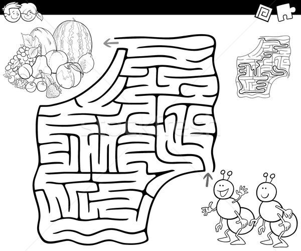 Labirinto formiche frutti cartoon illustrazione istruzione Foto d'archivio © izakowski