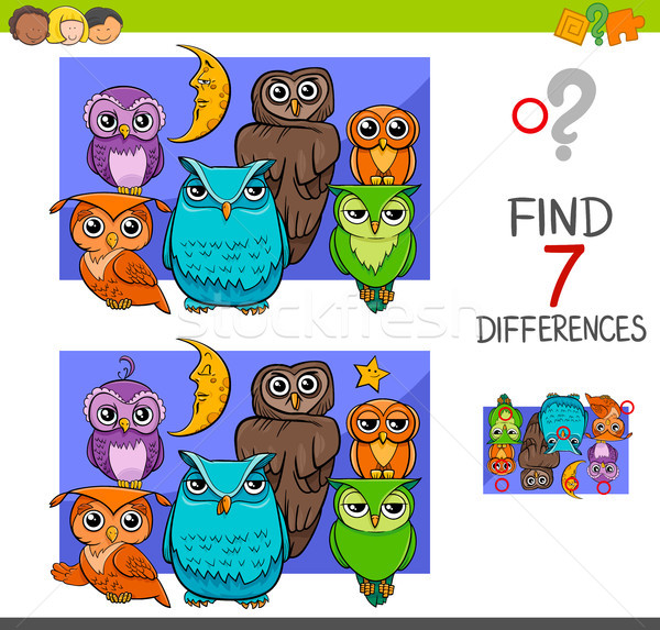 Stock photo: spot the differences with cute owl birds