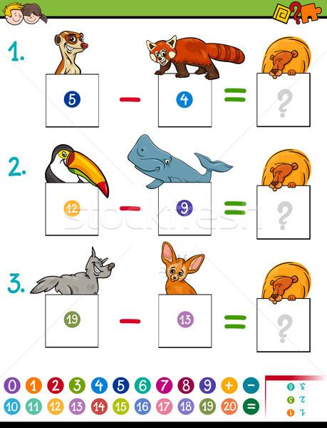 Matematika kivonás játék aranyos állatok rajz illusztráció Stock fotó © izakowski