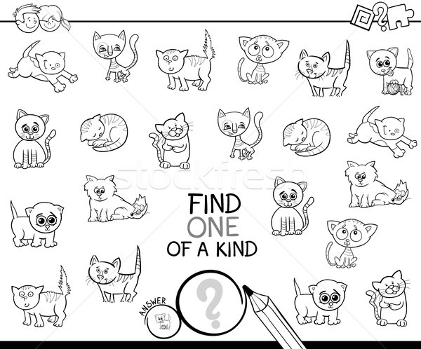 one of a kind game with cats color book Stock photo © izakowski