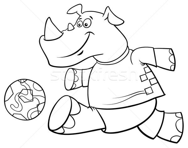 Rinoceronte livro para colorir preto e branco desenho animado Foto stock © izakowski