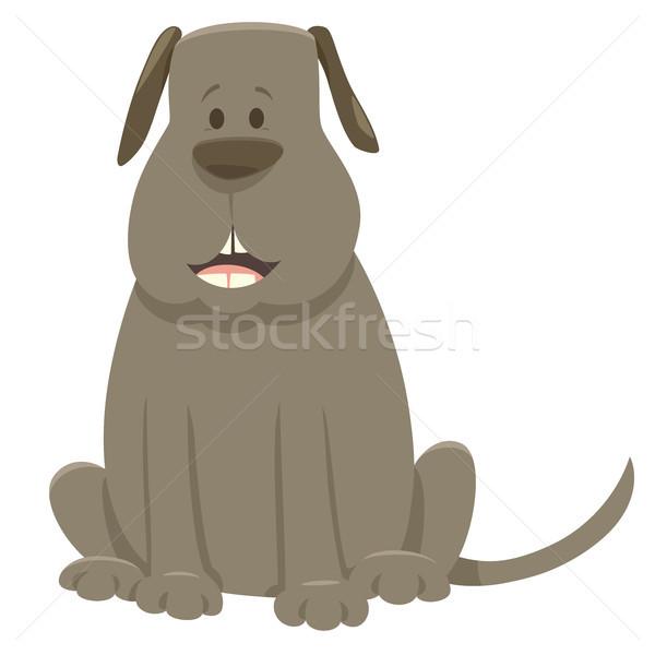 gray dog cartoon animal character Stock photo © izakowski