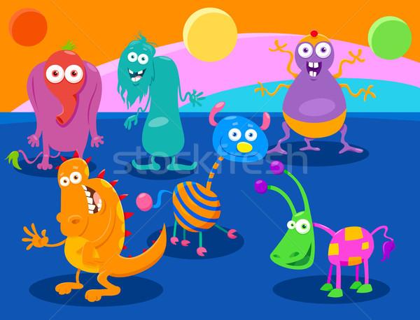 Cartoon Fantasy Monster Characters group Stock photo © izakowski