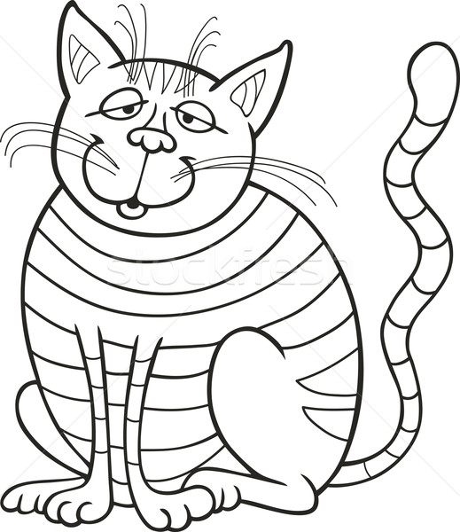 Smiling Cat for coloring book Stock photo © izakowski