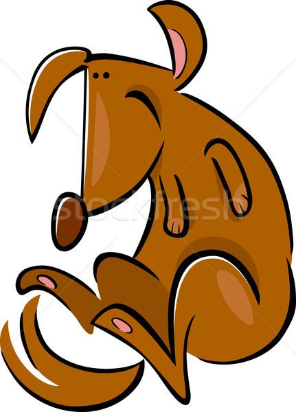 Foto stock: Desenho · animado · rabisco · feliz · cão · ilustração · cão · marrom