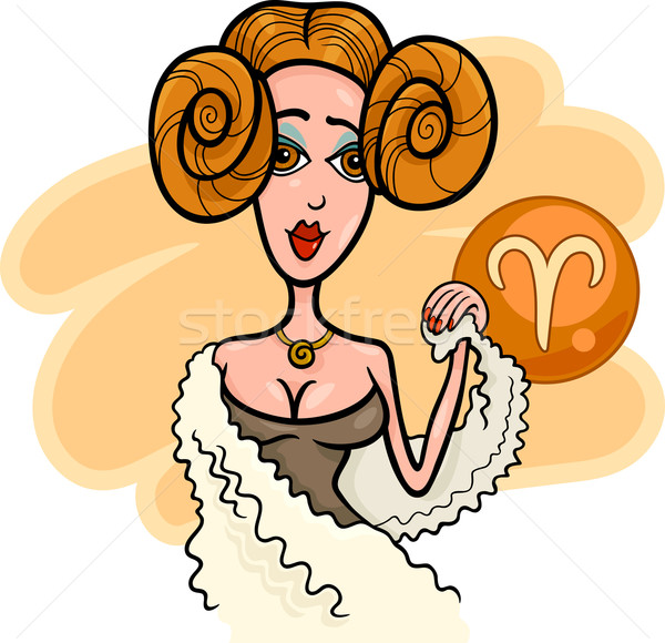 woman cartoon illustration aries sign Stock photo © izakowski