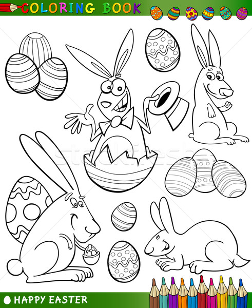 easter cartoon themes for coloring Stock photo © izakowski