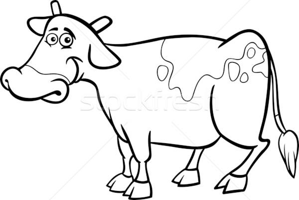 çiftlik Inek Karikatür Boyama Kitabı Siyah Beyaz örnek