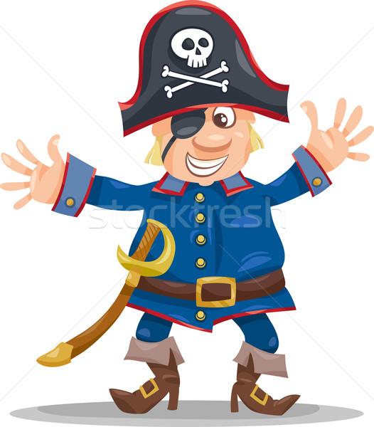 funny pirate cartoon illustration Stock photo © izakowski