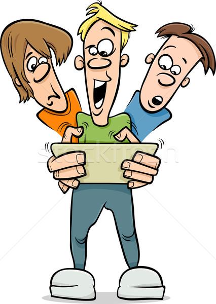 Stockfoto: Jongens · spelen · spel · cartoon · illustratie · teen
