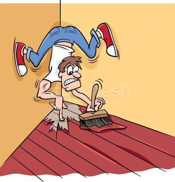 Schilderij jezelf hoek cartoon humor illustratie Stockfoto © izakowski