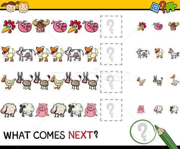 education game with farm animals Stock photo © izakowski