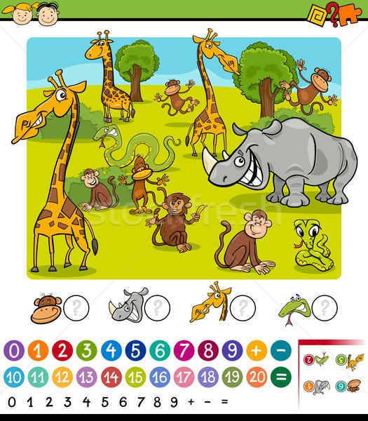 Dieren cartoon spel illustratie onderwijs wiskundig Stockfoto © izakowski