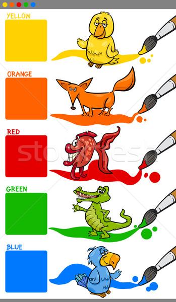 Primário cores animais desenho animado ilustração Foto stock © izakowski
