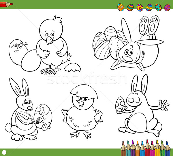 easter cartoons coloring book Stock photo © izakowski