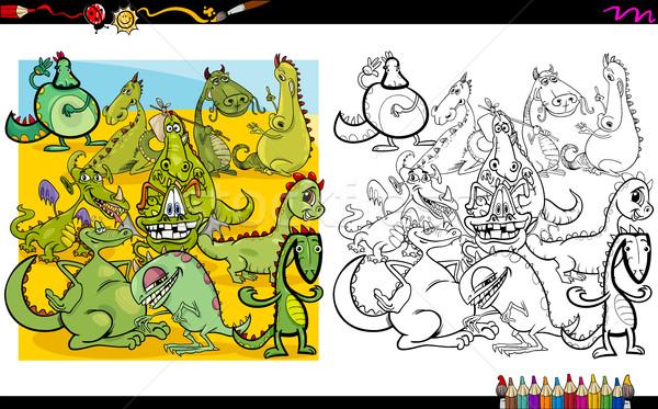 Sárkány betűk kifestőkönyv rajz illusztráció fantázia Stock fotó © izakowski