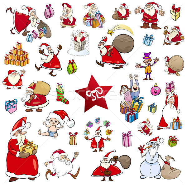 cartoon christmas characters set Stock photo © izakowski