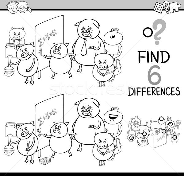 Diferencias actividad página blanco negro Cartoon ilustración Foto stock © izakowski