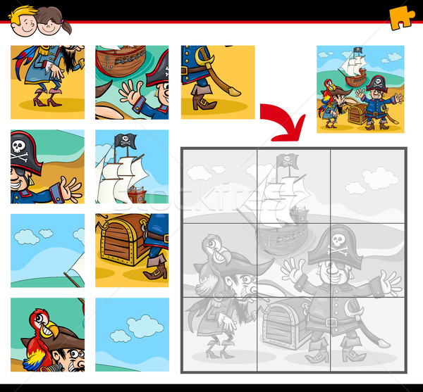 Stock photo: jigsaw puzzle with pirates