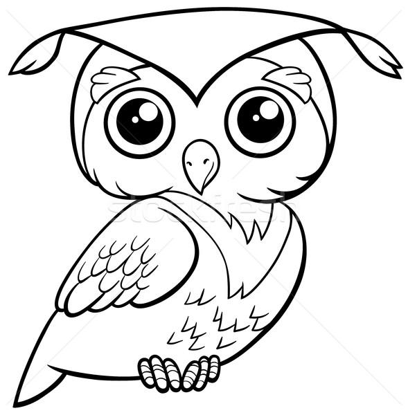 cute owl coloring page Stock photo © izakowski