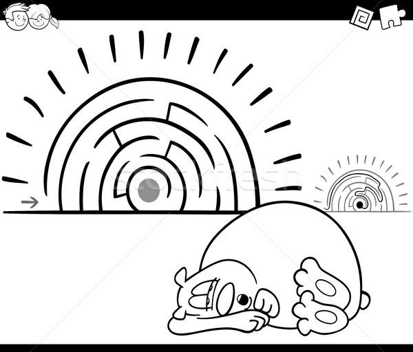 Labirynt działalność gry snem ponosi czarno białe Zdjęcia stock © izakowski