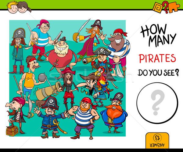 counting pirates educational game for kids Stock photo © izakowski