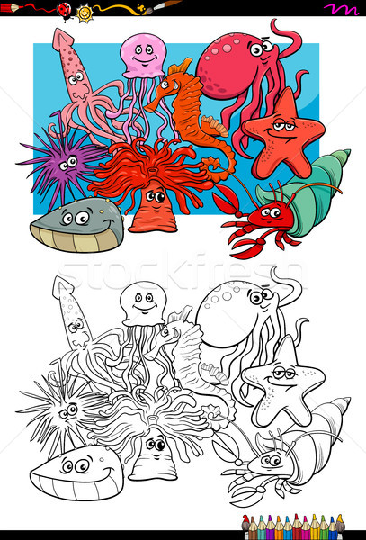 sea life animal characters coloring book Stock photo © izakowski