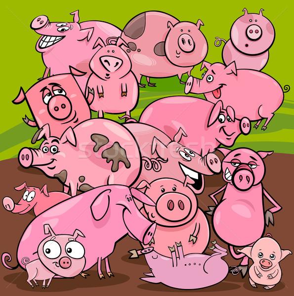 Cartoon свиней сельскохозяйственных животных группа иллюстрация Сток-фото © izakowski