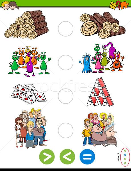 Menos igual Cartoon rompecabezas juego ilustración Foto stock © izakowski