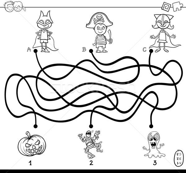Labirent çocuklar Boyama Kitabı Siyah Beyaz Karikatür